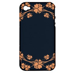 Floral Vintage Royal Frame Pattern Apple Iphone 4/4s Hardshell Case (pc+silicone)