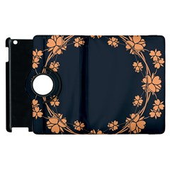 Floral Vintage Royal Frame Pattern Apple Ipad 2 Flip 360 Case by BangZart