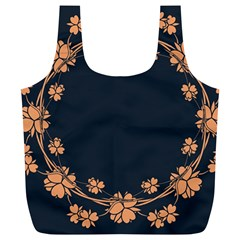 Floral Vintage Royal Frame Pattern Full Print Recycle Bags (l)
