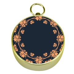 Floral Vintage Royal Frame Pattern Gold Compasses