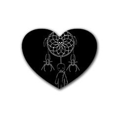 Voodoo Dream Catcher  Rubber Coaster (heart)  by Valentinaart
