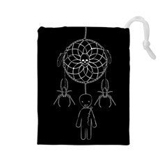Voodoo Dream Catcher  Drawstring Pouches (large)  by Valentinaart