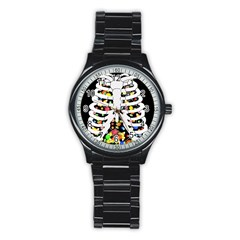 Trick Or Treat  Stainless Steel Round Watch by Valentinaart