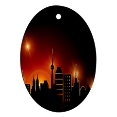 Gold Golden Skyline Skyscraper Ornament (oval) by BangZart
