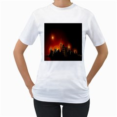 Gold Golden Skyline Skyscraper Women s T Shirt (white) (two Sided)