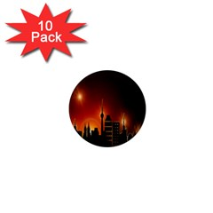 Gold Golden Skyline Skyscraper 1  Mini Magnet (10 Pack)
