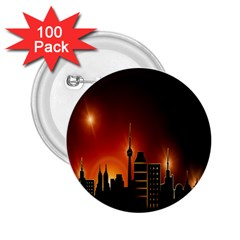 Gold Golden Skyline Skyscraper 2 25  Buttons (100 Pack)