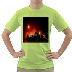 Gold Golden Skyline Skyscraper Green T Shirt
