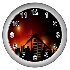 Gold Golden Skyline Skyscraper Wall Clocks (silver)  by BangZart