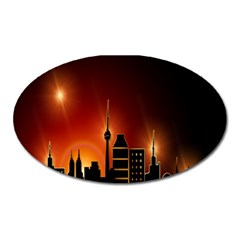 Gold Golden Skyline Skyscraper Oval Magnet by BangZart