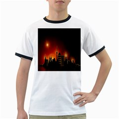 Gold Golden Skyline Skyscraper Ringer T Shirts