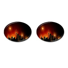Gold Golden Skyline Skyscraper Cufflinks (oval) by BangZart
