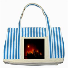 Gold Golden Skyline Skyscraper Striped Blue Tote Bag