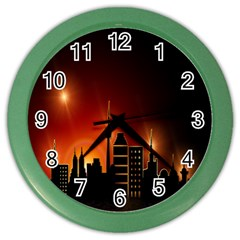 Gold Golden Skyline Skyscraper Color Wall Clocks by BangZart