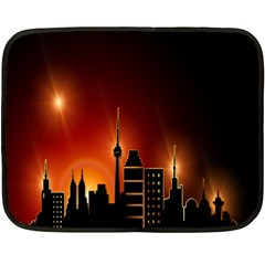 Gold Golden Skyline Skyscraper Double Sided Fleece Blanket (mini)  by BangZart
