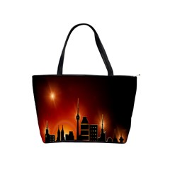 Gold Golden Skyline Skyscraper Shoulder Handbags by BangZart
