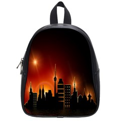 Gold Golden Skyline Skyscraper School Bag (small) by BangZart
