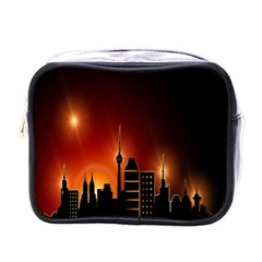 Gold Golden Skyline Skyscraper Mini Toiletries Bags by BangZart