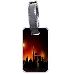 Gold Golden Skyline Skyscraper Luggage Tags (one Side)  by BangZart