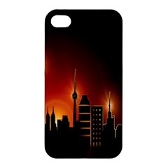 Gold Golden Skyline Skyscraper Apple Iphone 4/4s Premium Hardshell Case by BangZart