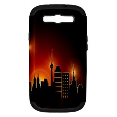 Gold Golden Skyline Skyscraper Samsung Galaxy S Iii Hardshell Case (pc+silicone) by BangZart