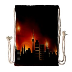 Gold Golden Skyline Skyscraper Drawstring Bag (large) by BangZart