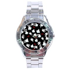 Ghost Pattern Stainless Steel Analogue Watch by Valentinaart
