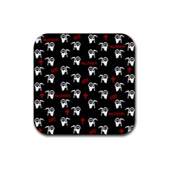 Death Pattern   Halloween Rubber Square Coaster (4 Pack)  by Valentinaart