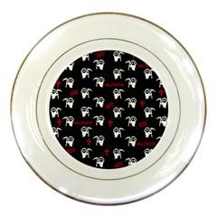 Death Pattern   Halloween Porcelain Plates by Valentinaart