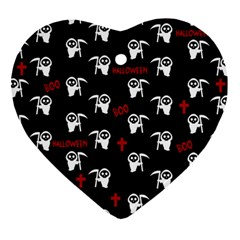 Death Pattern   Halloween Heart Ornament (two Sides) by Valentinaart