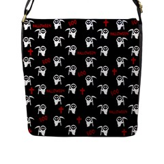 Death Pattern   Halloween Flap Messenger Bag (l)  by Valentinaart