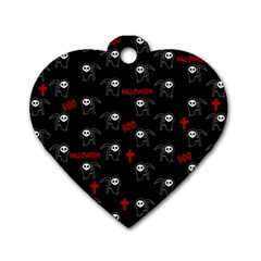 Death Pattern   Halloween Dog Tag Heart (two Sides) by Valentinaart