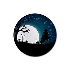 Halloween Landscape Rubber Coaster (round)  by Valentinaart