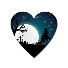 Halloween Landscape Heart Magnet by Valentinaart