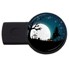 Halloween Landscape Usb Flash Drive Round (2 Gb) by Valentinaart