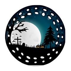 Halloween Landscape Ornament (round Filigree) by Valentinaart