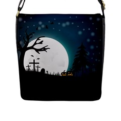 Halloween Landscape Flap Messenger Bag (l)  by Valentinaart