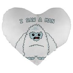 Yeti   I Saw A Man Large 19  Premium Heart Shape Cushions by Valentinaart