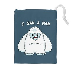 Yeti   I Saw A Man Drawstring Pouches (extra Large) by Valentinaart