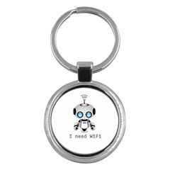 Cute Robot Key Chains (round)  by Valentinaart