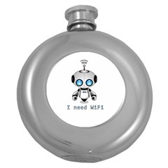 Cute Robot Round Hip Flask (5 Oz) by Valentinaart