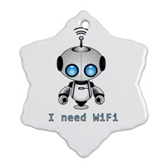 Cute Robot Ornament (snowflake) by Valentinaart