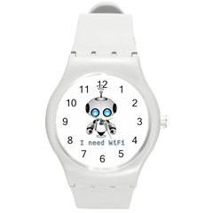 Cute Robot Round Plastic Sport Watch (m) by Valentinaart