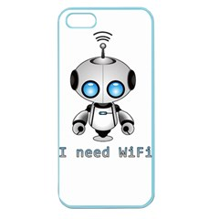 Cute Robot Apple Seamless Iphone 5 Case (color) by Valentinaart