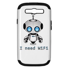 Cute Robot Samsung Galaxy S Iii Hardshell Case (pc+silicone) by Valentinaart