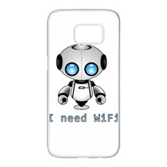 Cute Robot Samsung Galaxy S7 Edge White Seamless Case by Valentinaart