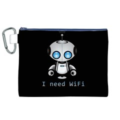 Cute Robot Canvas Cosmetic Bag (xl) by Valentinaart