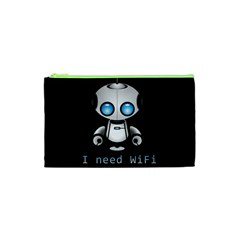 Cute Robot Cosmetic Bag (xs) by Valentinaart