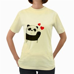 Cute Panda Women s Yellow T Shirt by Valentinaart