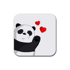 Cute Panda Rubber Coaster (square)  by Valentinaart